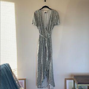High Low Green Wrap Dress
